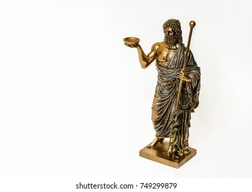 Hippocrates statue on white background