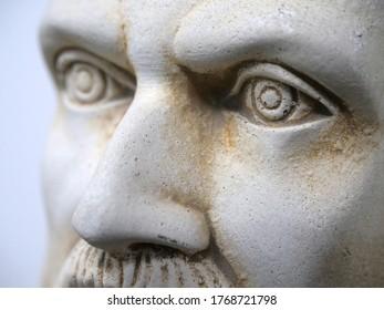 hippocratic bust portrait, eyes close up
