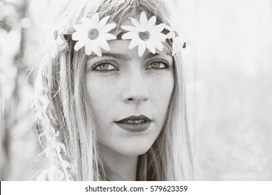 Hippy girl - 1970 style deliberately vintage photograph