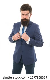 Hipster with beard formal suit office worker. Businessman formal suit. Modern businessman ofiice worker. Office life concept. He knows who is boss here. Bearded man confident posture isolated white.