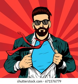 Hipster beard male businessman pop art retro illustration. Strong Businessman in glasses in comic style. Success concept.
