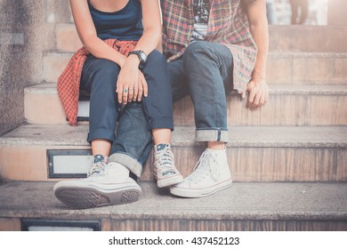Hipster boy and girl, hipster couple, vintage color