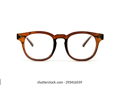 Hipster brown glasses isolated ,eyewear