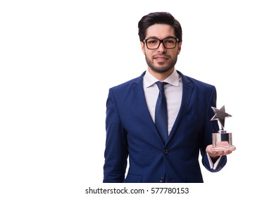 Hipster businessman receiving award isolated on white