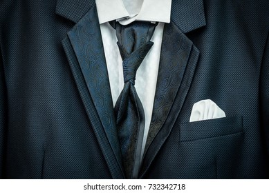 Hipster casual fashion blue suit and bow close up