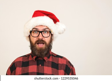 Hipster christmas. Sales fashion. Happy christmas shopping. Party man isolated. Hipster santa.
