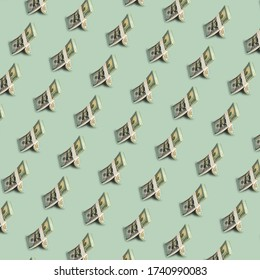 Hipster colour seamless pattern backdrop with a pack of ten thousand dollar. Minimal concept art. money concept.