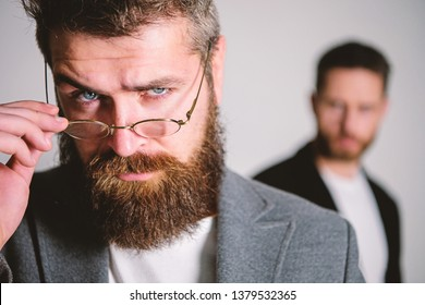 Hipster eyeglasses. Man handsome bearded hipster wear eyeglasses. Eye health and sight. Optics and vision concept. Eyeglasses accessory for smart appearance. Wise glance. Hipster style and fashion.