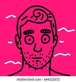 Hipster fashion bearded man portrait in sunglasses, Hand drawn raster illustration