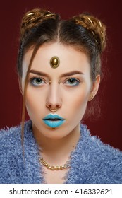 Hipster fashion stylish girl. Turquoise lips