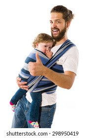 Hipster Father with Beard carries his little daughter in the baby sling, isolated against a white background.
