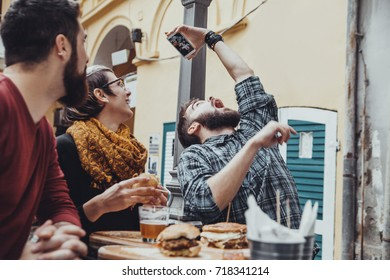 Hipster Friends In Fast Food Rastaurant Taking Selfie