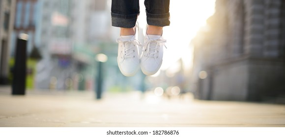 Hipster girl feet jumping concept series
