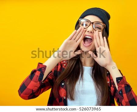 Hipster girl screaming like