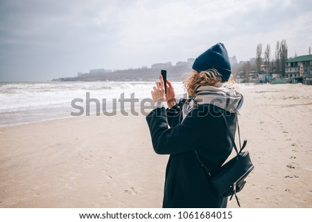 Hipster Girl Tourist Wearing Hat Scarf Stock Photo (Edit Now ... 562fa8bf27a0