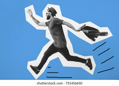 ?razy hipster guy emotions. Collage in magazine style . Fashion short. Hipster. Happy excited running young bearded man.