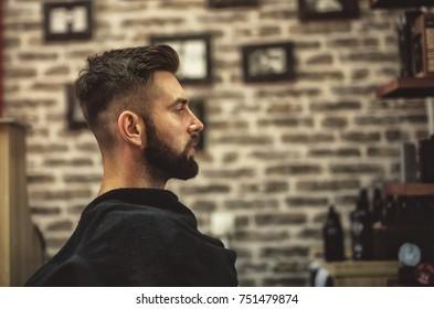 Hipster at hairdresser