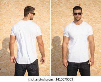 Hipster handsome male model with beard wearing white blank t-shirt space for your logo or design in casual urban style