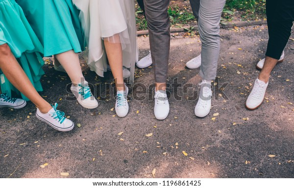 Hipster Human Legs Wearing White Sneakers Stock Photo Edit Now