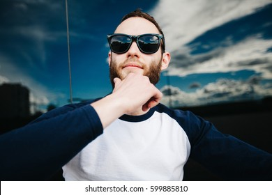 Hipster man with beard wearing glasses