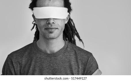 Hipster Man Covering Eyes Blind Concept