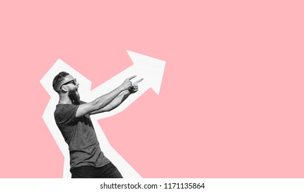 Hipster man pointing with fingers at your text