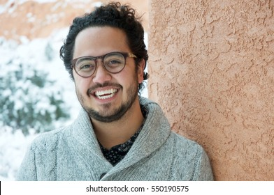 Hipster Man Smiling Outdoors