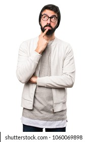 Hipster man thinking on white background