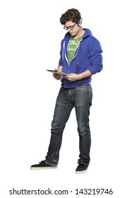 Hipster man watching video on tablette against white background