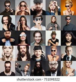 Hipster people concept. Collage (mosaic) of fashionable men, kids, women with stylish accessories, glasses, wearing trendy clothes. beauty fashion collage