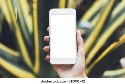 Hipster photograph on digital smart phone or technology, mock up of blank screen. Girl using mobile on yellow and green flowers background close. Hands holding gadget on blurred backdrop, front view