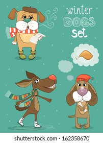 Hipster set of cute winter fashion dogs illustration.