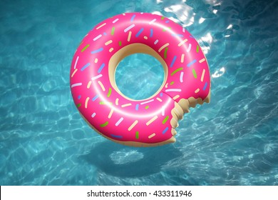 Hipster sprinkled doughnut float in sunny pool background straight down