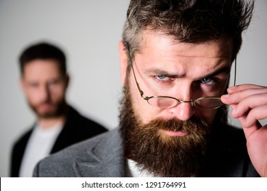 Hipster style and fashion. Hipster eyeglasses. Man handsome bearded hipster wear eyeglasses. Eye health and sight. Optics and vision concept. Eyeglasses accessory for smart appearance. Wise glance.