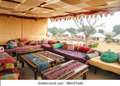 hipster style travel image of luxury tents in desert. Jaisalmer, Rajasthan, India