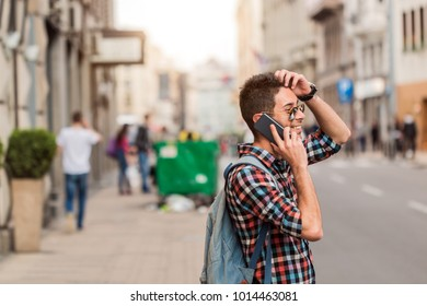 Hipster talking on mobile phone