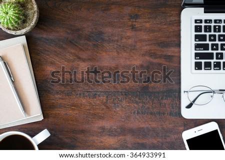 Hipster Vintage Office Desk Table With Laptop, Smartphone, Eye Glasses,  Notebooks, Pen