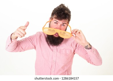 Hipster wear shutter shades extremely big sunglasses. Sunglasses vacation attribute and stylish accessory. Eye protection sunglasses summer accessory. Man bearded guy wear giant louvered sunglasses.