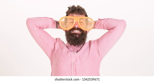 Hipster wear shutter shades extremely big sunglasses. Man bearded guy wear giant louvered sunglasses. Sunglasses vacation attribute and stylish accessory. Eye protection sunglasses summer accessory.