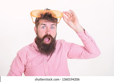 Hipster wear shutter shades extremely big sunglasses. Sunglasses vacation attribute. Eye protection sunglasses summer accessory. How to get ready for your next vacation. Bearded man wear sunglasses.