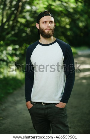 4bae8c43a01a Hipster Wearing White Blank Tshirt Space Stock Photo (Edit Now ...