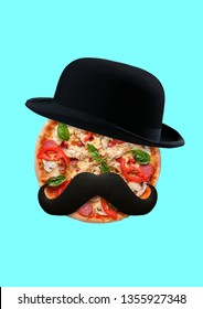 A hipsters hunger. An alternative view of taste. Male face with black hat and mustache as a pizza with tomato, salami, cheese and chiken filett. Food concept. Modern design. Contemporary art collage.