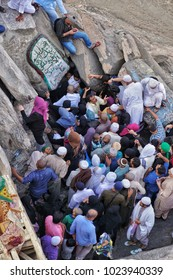 Hira cave, Mekah-February 1st, 2018: A crowd of muslim worshipers is trying to enter the Hira Cave. Hira cave is a small cave fit for 1-2 persons where Prophet Muhammad receive His first Quran verse