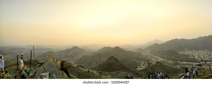 Hira Cave, Saudi Arabia - 28th August 2017, Wide panoramic view of the Rocky Mountains from Hira Cave during sunrise.