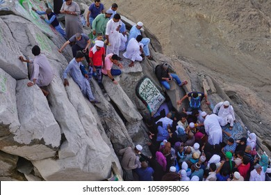 Hira Cave,Mecca-January 26th,2018:A crowd of Muslim worshipers tried to enter the Hira Cave. Hira cave is where Prophet Muhammad SAW receive His first Quran verse.