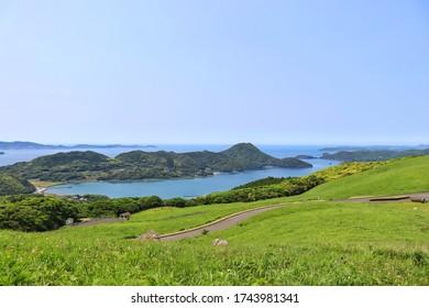 "Hirado City, Nagasaki Prefecture, Japan. The scenery of ""Kawauchi Pass"" overlooking Kujukushima Island and Goto Island."