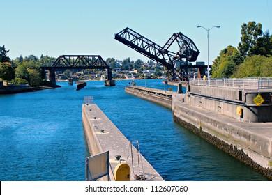 Hiram M. Chittenden Locks and Rail Drawbridge - Salmon Bay Bridge - Bridge No.4