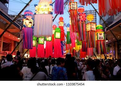 HIRATSUKA, KANAGAWA, JAPAN - JULY 7, 2017: Hiratsuka Tanabata Festival 2017