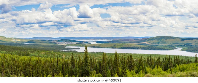 Hi-Res panorama landscape of remote mining towns Labrador City and Wabush in the boreal forest taiga of Newfoundland/Labrador, Canada, near the border to Quebec