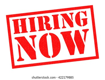 HIRING NOW red Rubber Stamp over a white background.